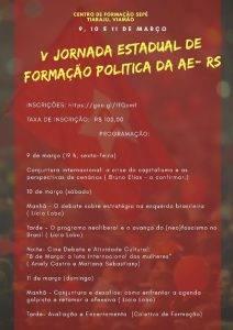 Rio Grande do Sul: tendência petista Articulação de Esquerda realiza 5ª Jornada Estadualde Formação
