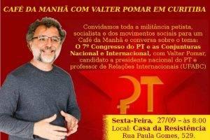 Curitiba e região – Café da manhã e conversa sobre conjuntura e o 7° Congresso do PT (dia 27, sexta-feira)