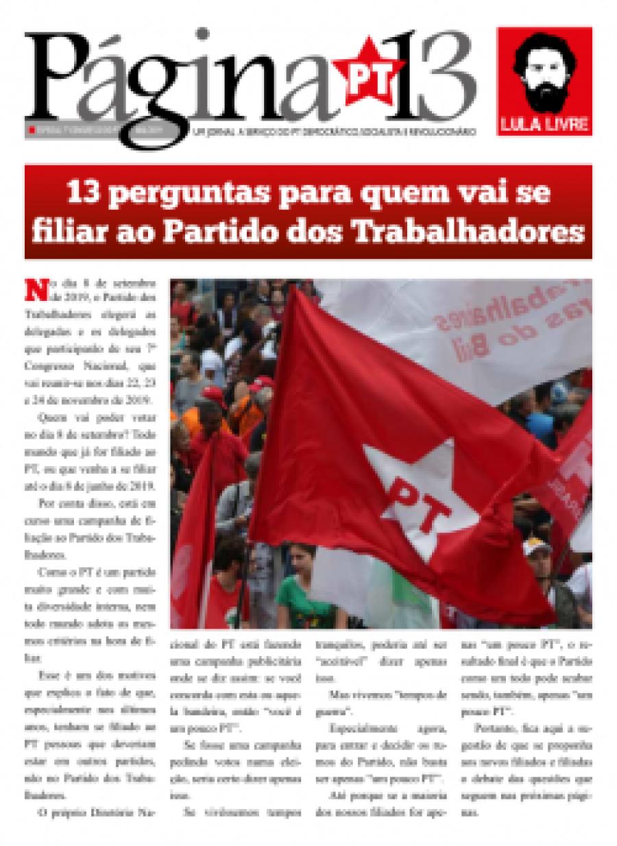 Página 13, Maio 2019, especial 7° Congresso do PT  - 3 edição